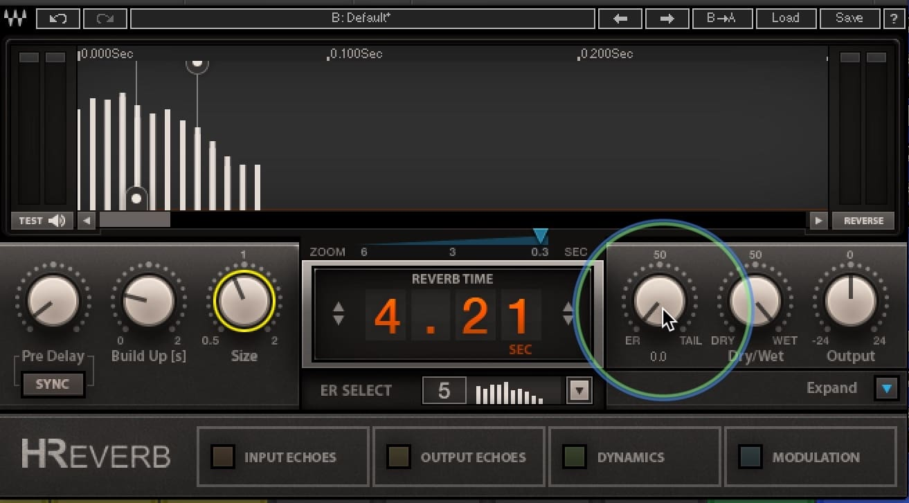 "The ER (""Early Reflections"") setting on the H-Reverb plugin"