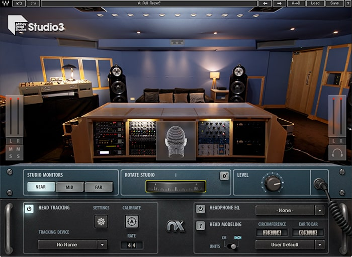 Using the Rotate Studio knob, you can simulate facing the back or sides of the virtual control room
