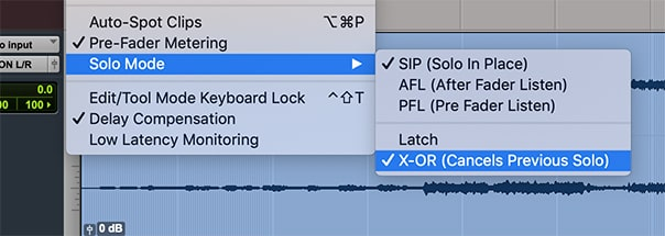 X-Or settings in ProTools