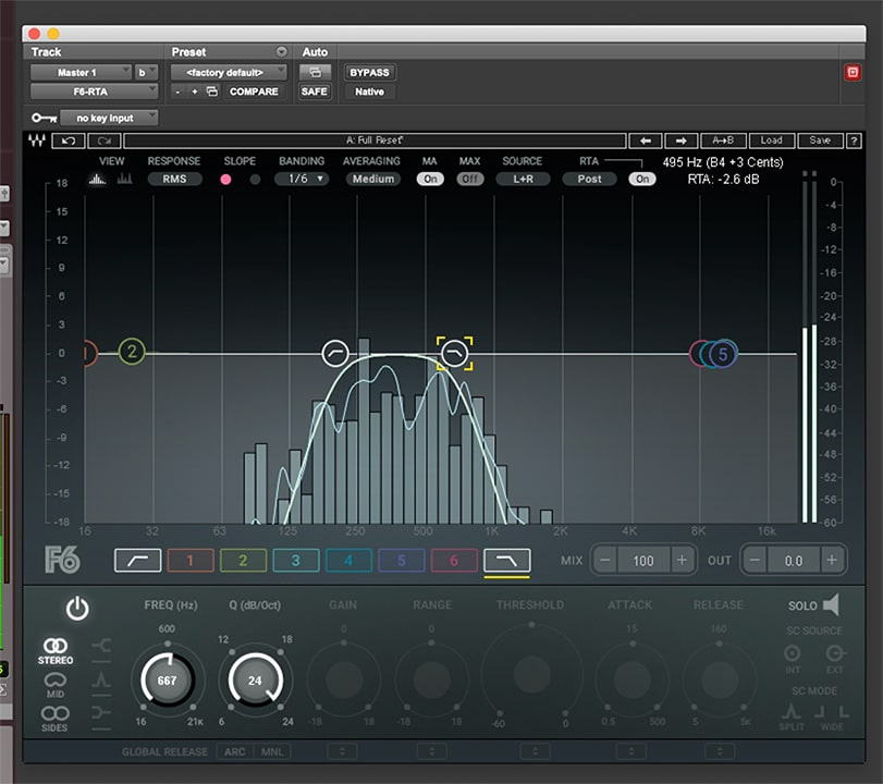 The image on the left shows the Renaissance EQ bypassed; note the huge amount of bass from the pop (outlined in white). The image on the right shows how using a high-pass filter attenuates the pop