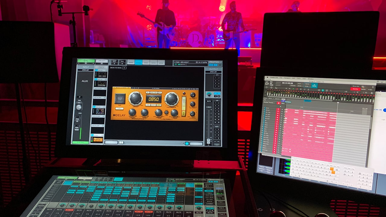 Mads performs virtual sound checks and additional sound system tweaks with Waves' eMotion LV1 mixer and Tracks Live multitrack recording software