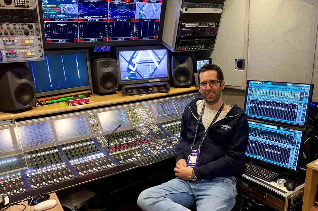 Broadcast mix engineer Omer Barzilay with the Waves eMotion LV1 mixer