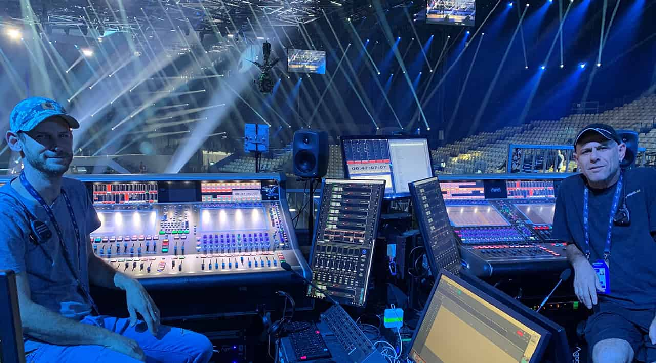 FOH included two consoles with Waves MultiRack SoundGrid setups