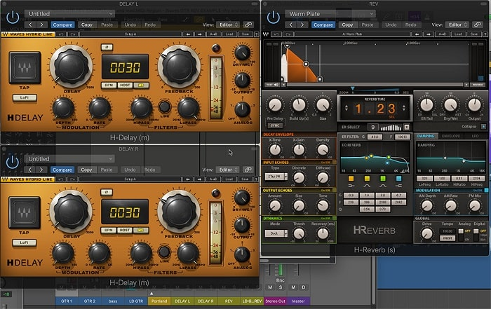 Plugins used for the rhythm guitar delayed reverb in audio example 2