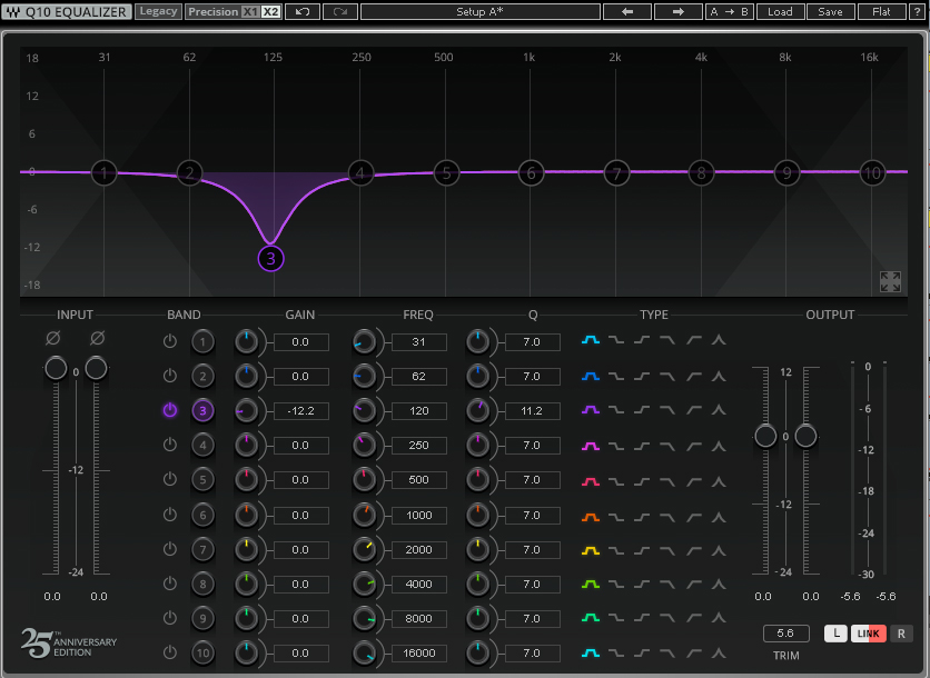 The Q10 Equalizer with a cut applied around 125 Hz