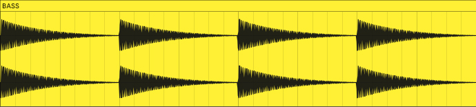 This is what the volume envelope of the bass from the previous audio example looks like when rendered to audio