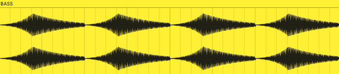 This is what the volume envelope of the bass from example 5 looks like when rendered to audio