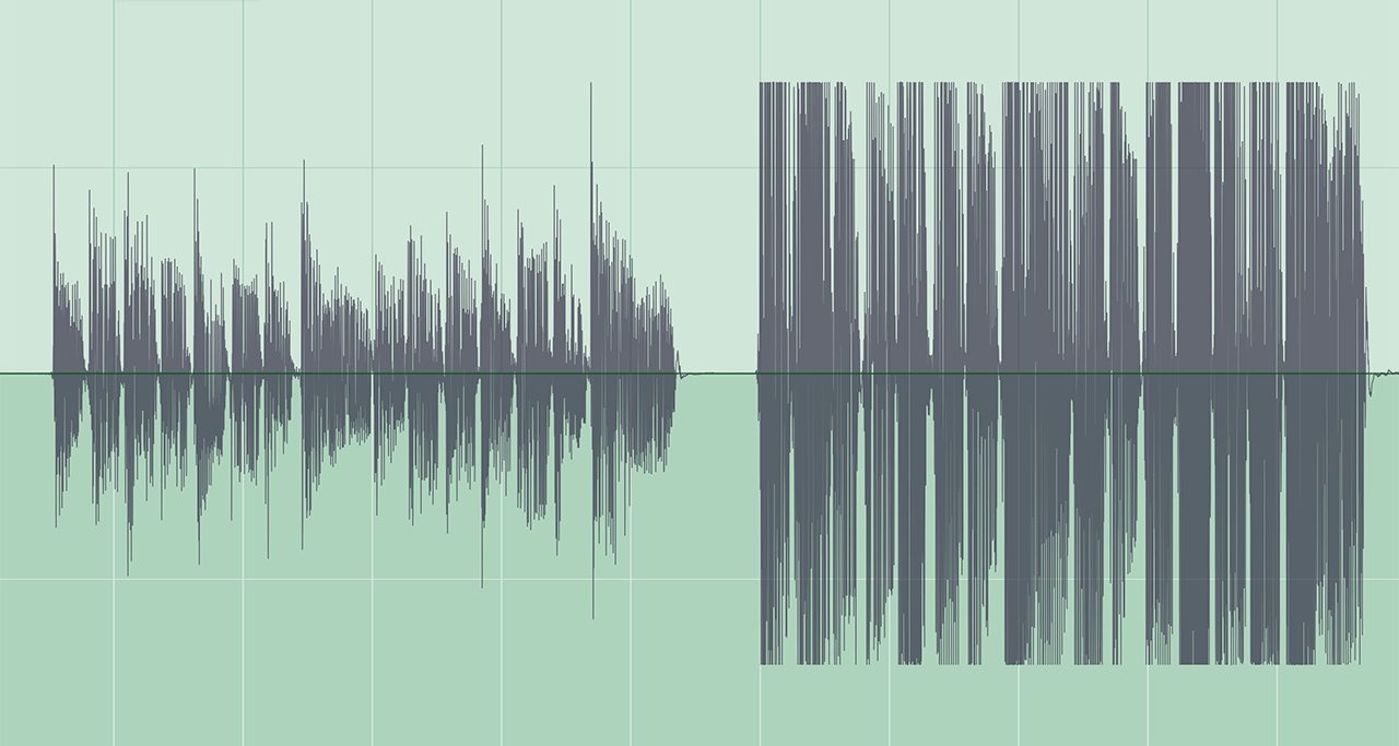 The left side shows a guitar part recorded into a DAW at a reasonable level. On the right is a guitar that overloaded the input. Notice how the clipped waveforms are flat at the top.