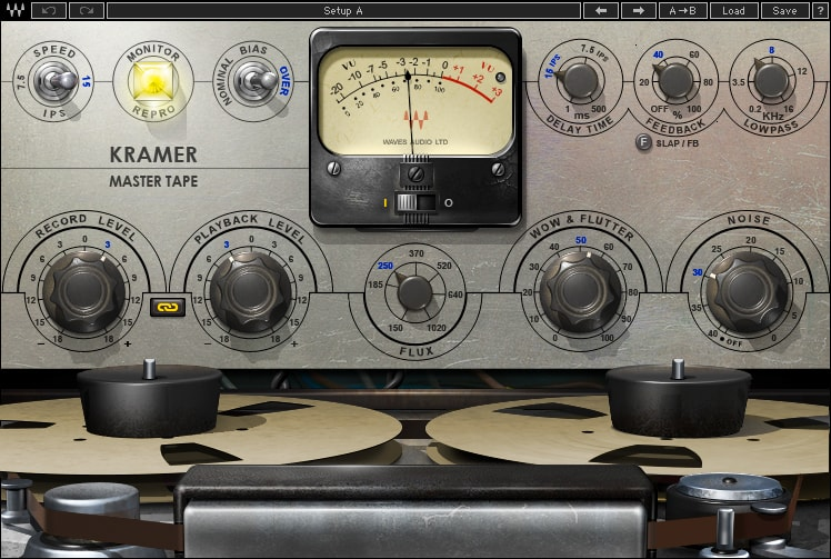 "Kramer Master Tape models the sound and behavior of a vintage ¼"" tape machine. It not only provides saturation but gives you adjustable tape-machine parameters such as bias, flux, wow and flutter."