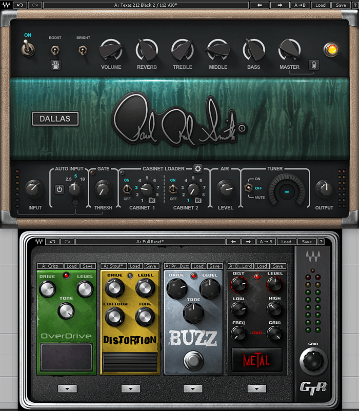 At the top is PRS SuperModels Dallas, an amp modeling plugin that's capable of creating distortion and overdrive, and the bottom is GTR Stomps, which lets you open up various stompbox models, including a number of the distortion and overdrive options.