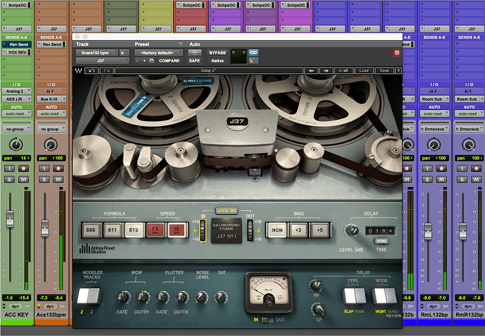 Inserting a tape plugin on each track (J37 Tape shown here) not only allows you to add saturation individually but also provides an overall emulation of a multitrack tape recording.