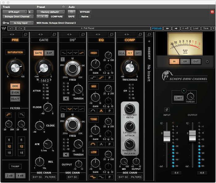 Scheps Omni Channel offers a dedicated Saturation circuit in its preamp section, allowing for several different varieties of saturation.