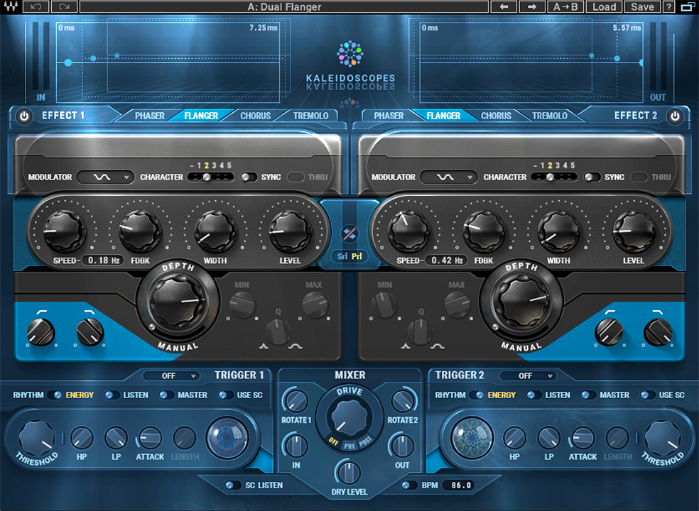 The dual flanger settings on Waves Kaleidoscopes used in Example 9