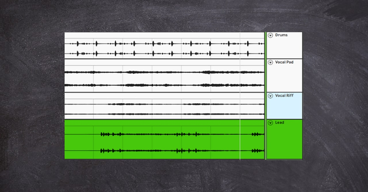 The transient-rich lead synth that comes in after two bars (shown here in green) is perfect for this trick