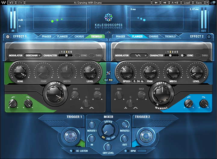 "The ""Dancing with Drums"" Kaleidoscopes preset uses envelope-controlled amplitude modulation."