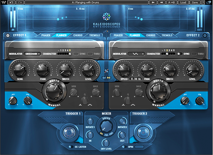 "The ""Flanging with Drums"" Kaleidoscopes preset requires only a single effect to add animation to sustained sounds."