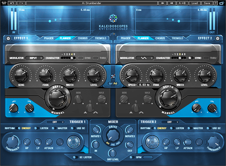 """The """"Drumbender"""" Kaleidoscopes preset uses two flangers, but they're applied quite differently."""