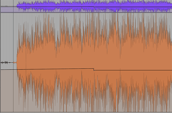 It's sometimes hard to see accidental changes in automation levels, especially if you have the track height too low. The track on top is actually a duplicate of the one below, but the actual volume change in the automation looks lower because the track height is reduced.