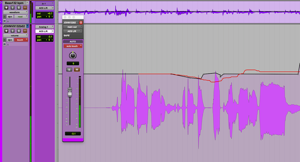 An in-progress Touch Mode edit of a vocal track's volume in Pro Tools.