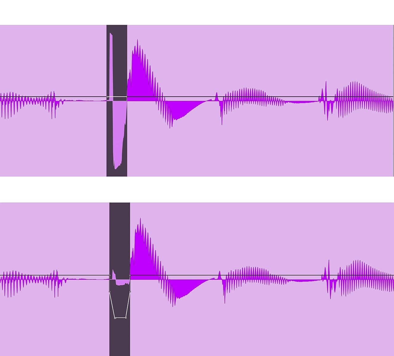 "The top is a vocal line with a popped ""p"" sound (highlighted). Below, the same spot with the ""p"" sound softened considerably using volume automation."