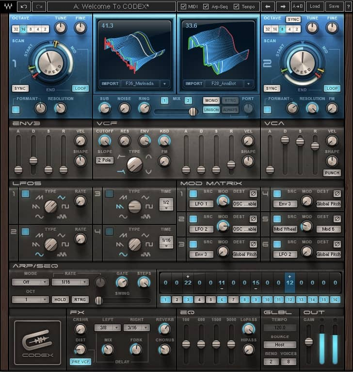Virtually every parameter on an effects plugin or virtual instrument (Codex Wavetable Synth shown here) can be automated.