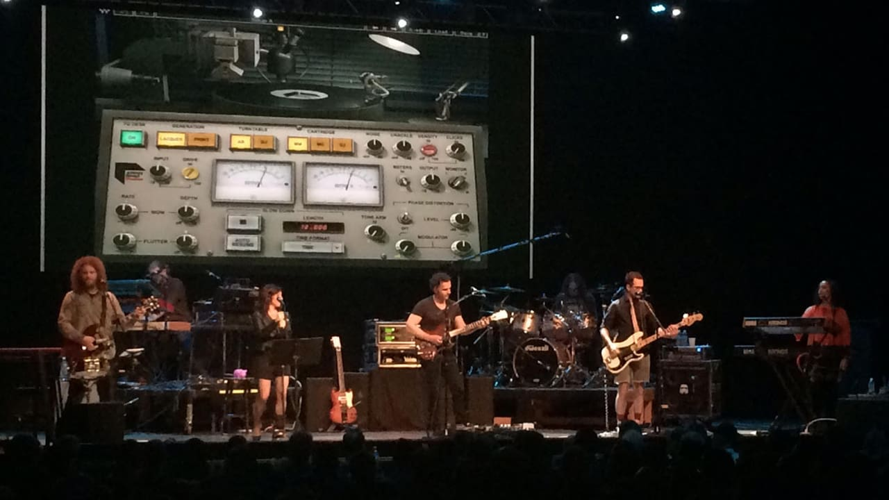 Dweezil onstage – Waves Abbey Road Vinyl as the backdrop!
