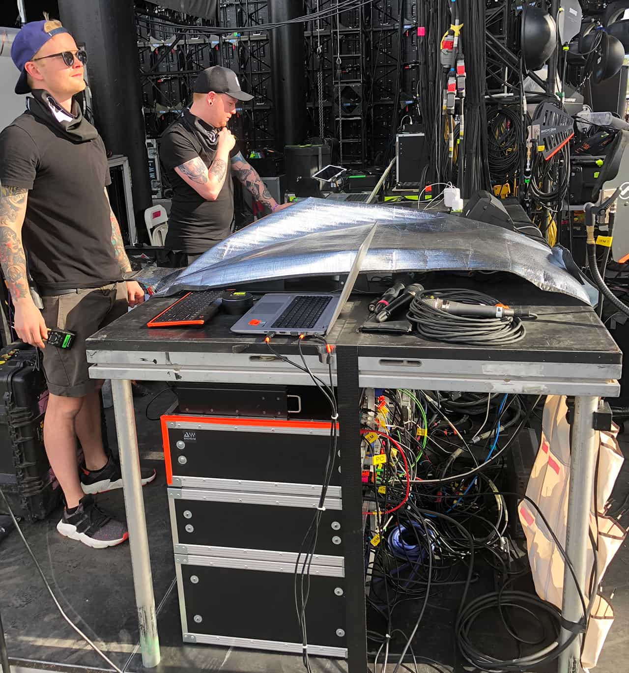 Monitor Engineer Jeppe Andersson works the soundcheck for MØ at Coachella