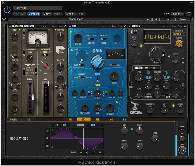 MultiMod Rack allows you to apply different distortion and effects plugins to up to three frequency zones
