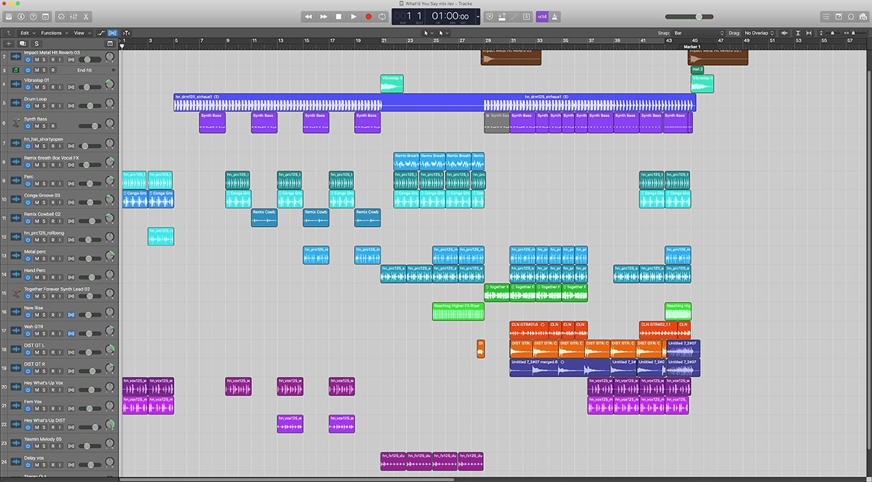 """The Logic Pro X session for """"What'd You Say."""""""