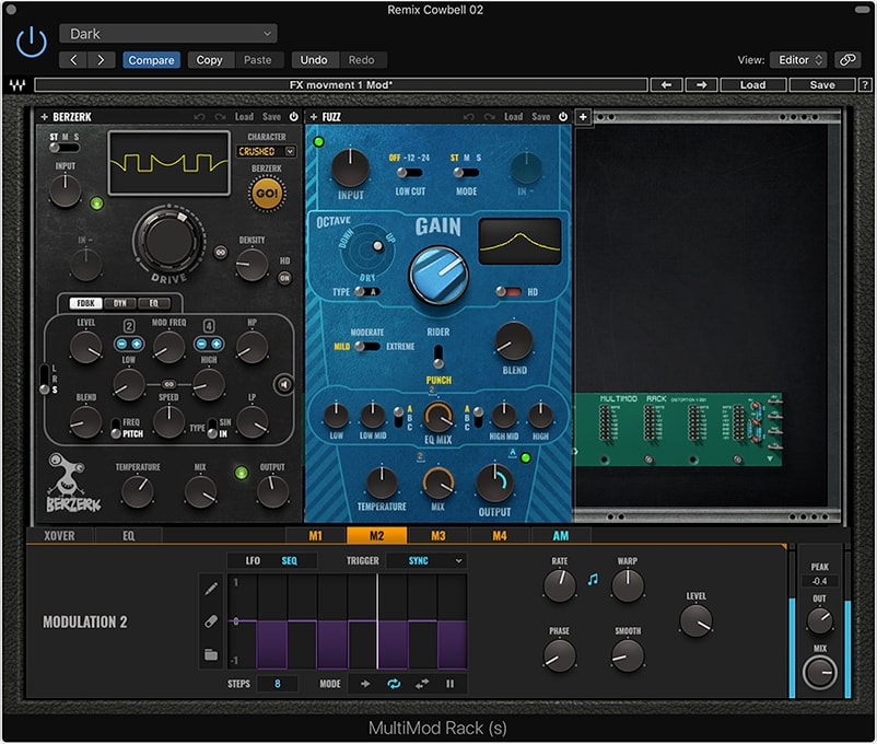 The 8-step sequencer helped add motion to the cowbell loop