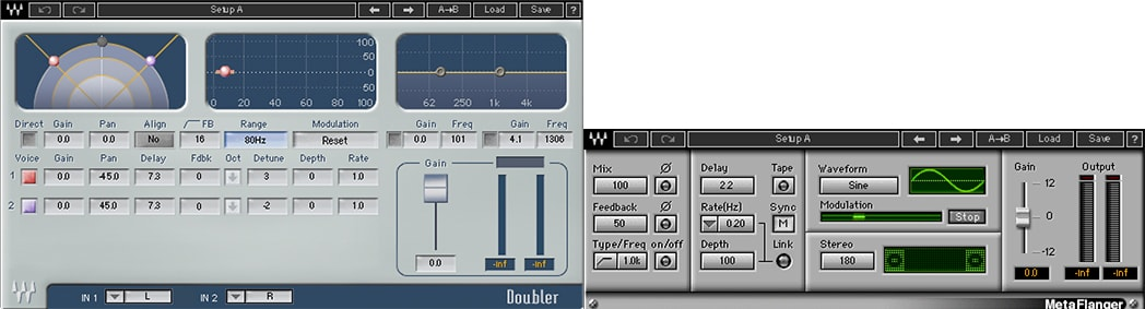 Chris used the Doubler and MetaFlanger plugins for attention grabbing, vocal accents on Ninja's Lead Vocals.