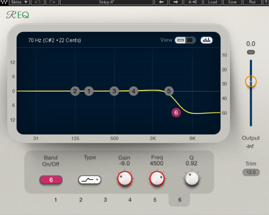 R-EQ6 settings on the right channel when L-R is panned 100% left, and Freq Depth is panned 100% right