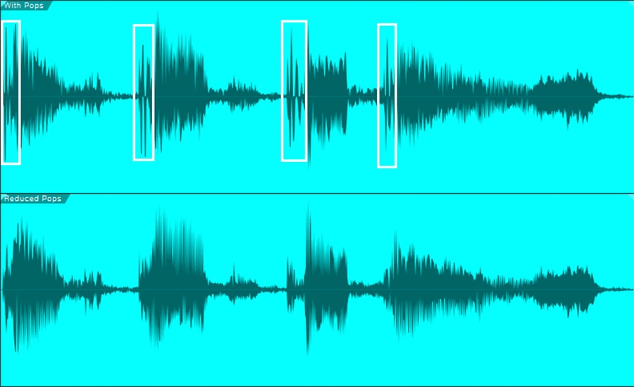 The pops are outlined in white. Pops always have a distinctive shape. The audio in the lower waveform is the same, but with the pops reduced