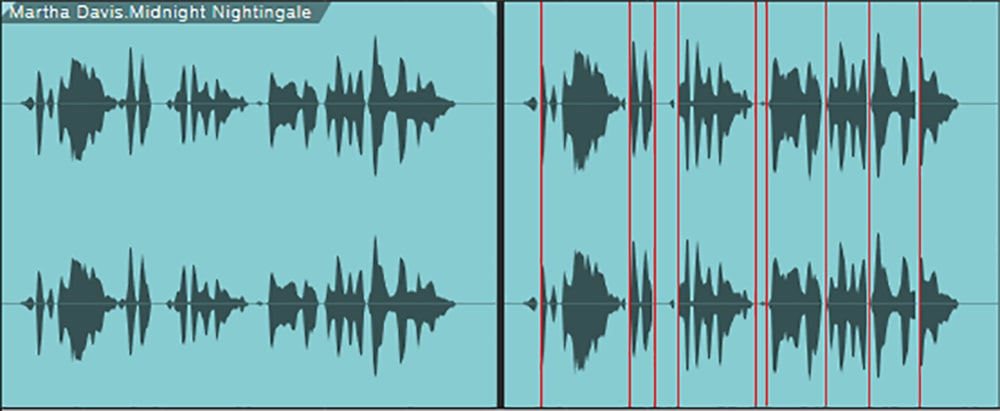Figure 2: The red lines on the right indicate where the vocal was split. Note how the levels are more even. Now, if you add compression, it can have a subtler touch because the dynamics are more uniform