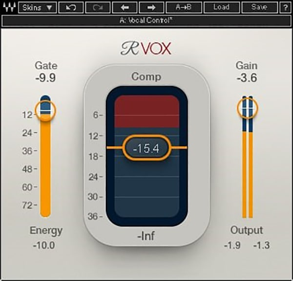 Figure 7: Renaissance Vox's design is optimized for voice, so finding suitable settings is easy