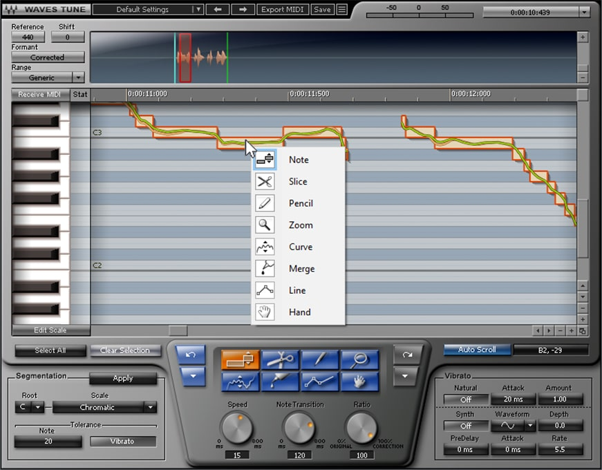 Figure 10: Waves Tune is like a laboratory for deep-dive pitch correction. Right-click on a note to bring up a menu with extensive editing options. These can also be selected with the buttons above the three controls