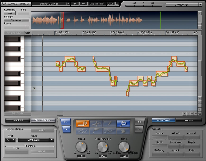 Figure 1: Waves Tune LT's graphical display shows vocal pitch and notes