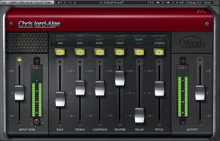 Figure 2: CLA Vocals combines Chris Lord-Alge's favorite vocal processing settings in a single plugin. It's the kind of plugin you use on scratch vocals to save time but then later realize it can take you all the way to the final mix