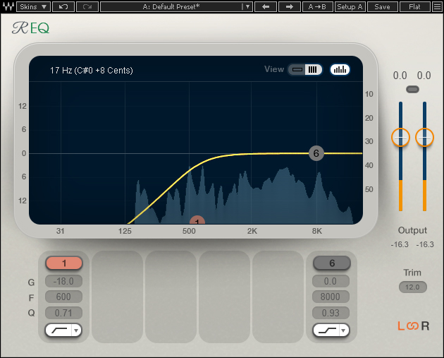Figure 5: Reducing low frequencies before feeding vocal reverb can give more presence, as well as a crisper sound that doesn't compete with other instruments