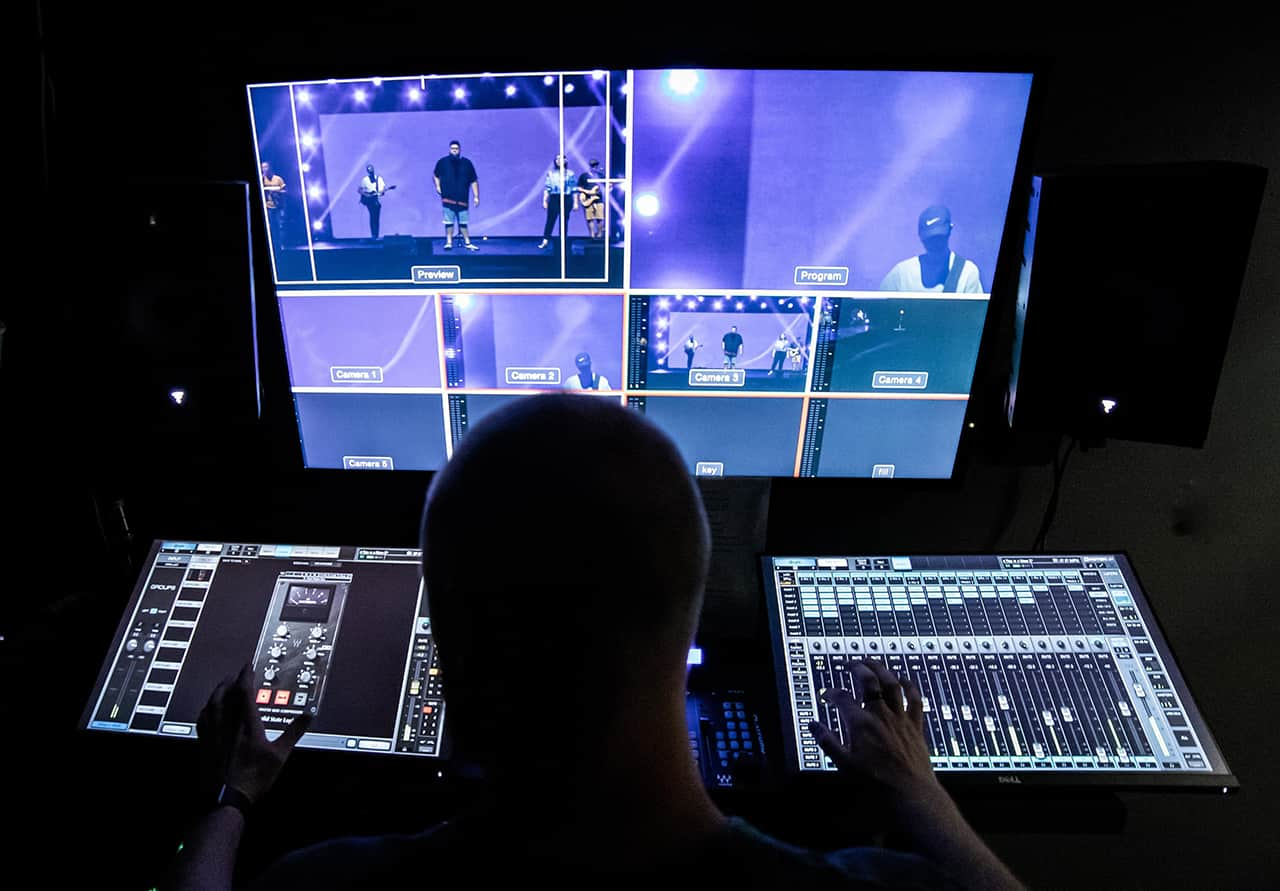 eMotion LV1 mixer at Road to Life's broadcast room
