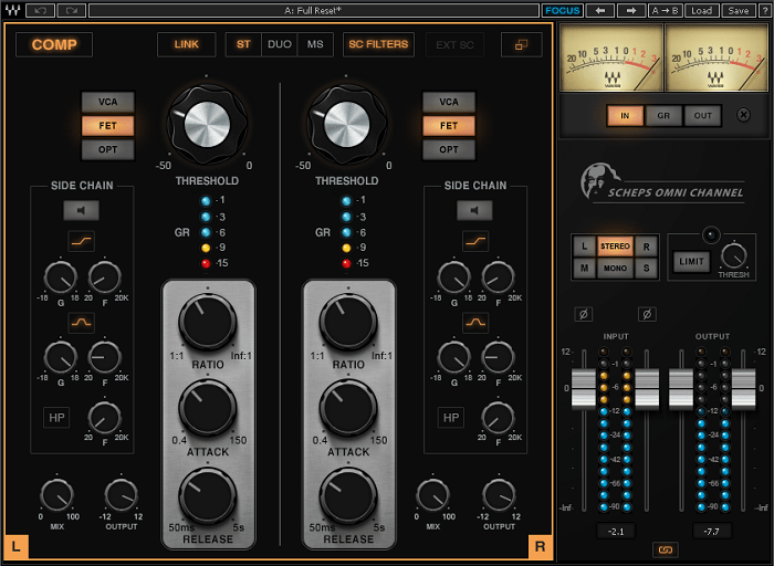 Note the massive bass boost in the sidechain, using both bandpass and low shelving filters; and note that sidechain filtering is enabled