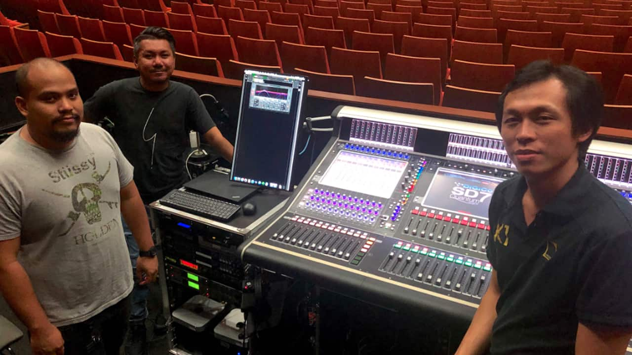 The audio team at The Star Theatre at the Star Performing Arts Centre in Singapore.