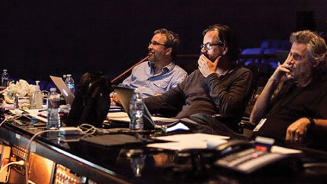 Mangini [R] with film editor Joe Walker and director Denis Villeneuve at mix preview