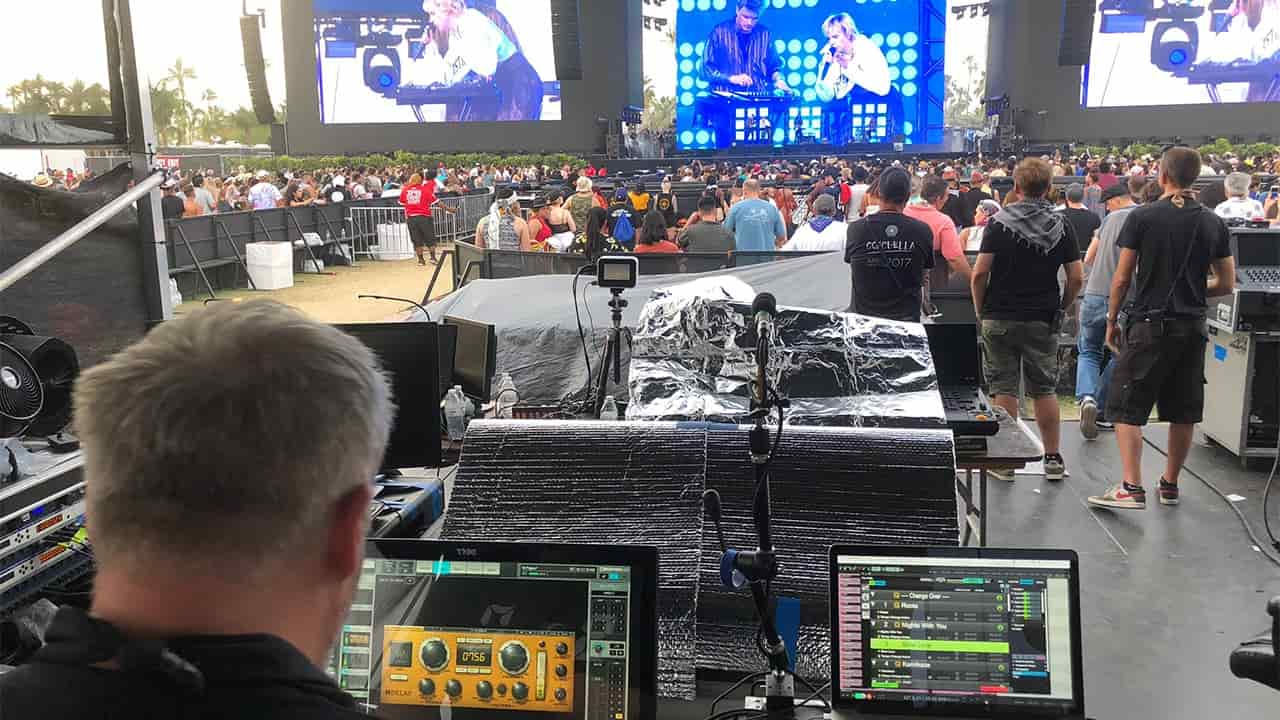 Jon Schumann running the H-Delay on the Waves eMotion LV1 mixer during MØ's concert