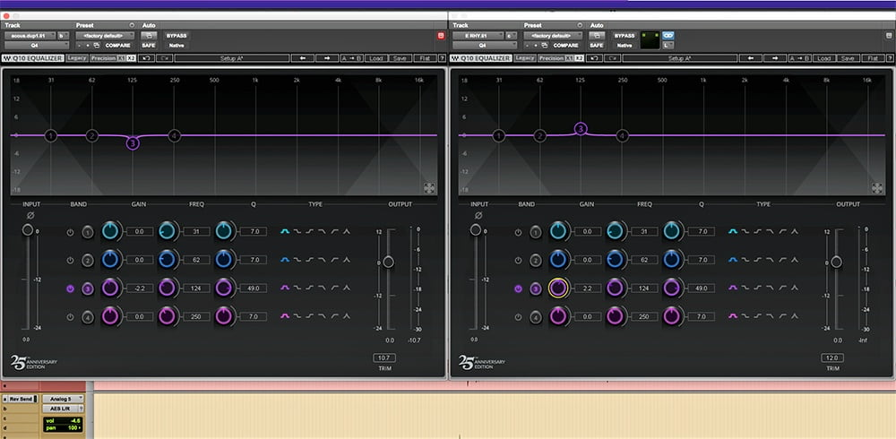 Here are EQs for a pair of tracks that had masking issues. Notice the boost in one is mirrored by the cut in the other.