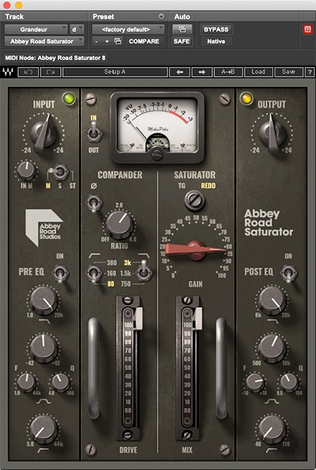 Abbey Road Saturator offers two EQ stages; one before and one after the Compander.