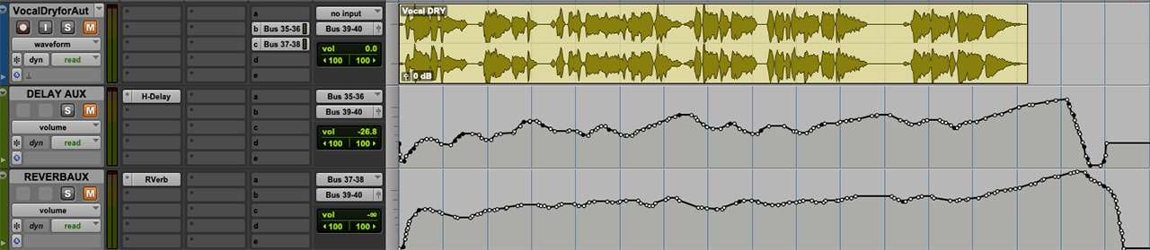 The FX automation drawn into the Pro Tools session