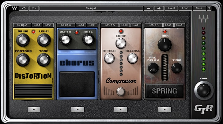 You can use the stompbox models in Waves GTR to add a virtual pedal board to your amp-modeled DI track.