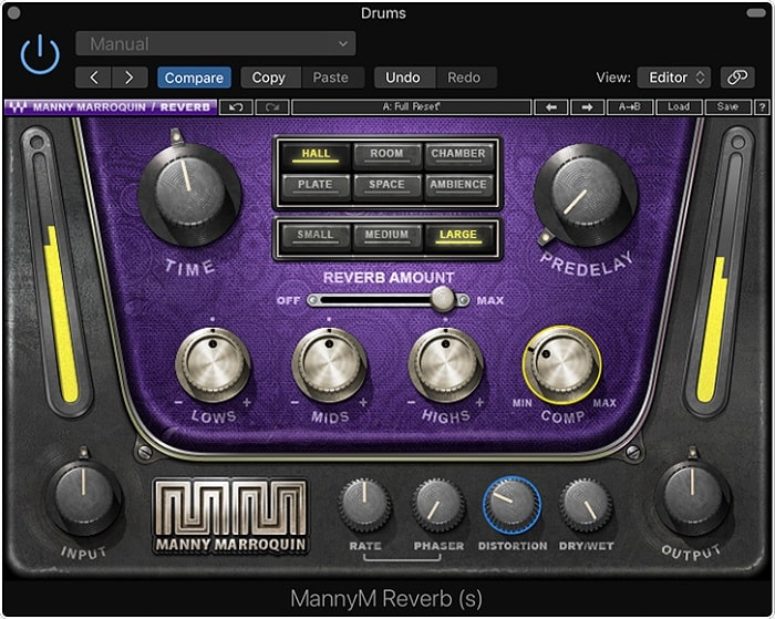 Compression and distortion effects (highlighted here) are included on Manny Marroquin Reverb, allowing you to alter the sound of the reverb without inserting additional plugins