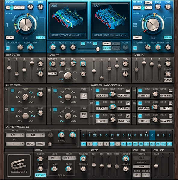 A screenshot of our wavetable and all active modules